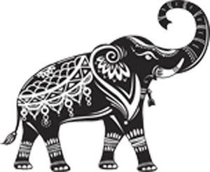 Pretty Detailed Black and White Boho Elephant Cartoon #5 Vinyl Decal Sticker
