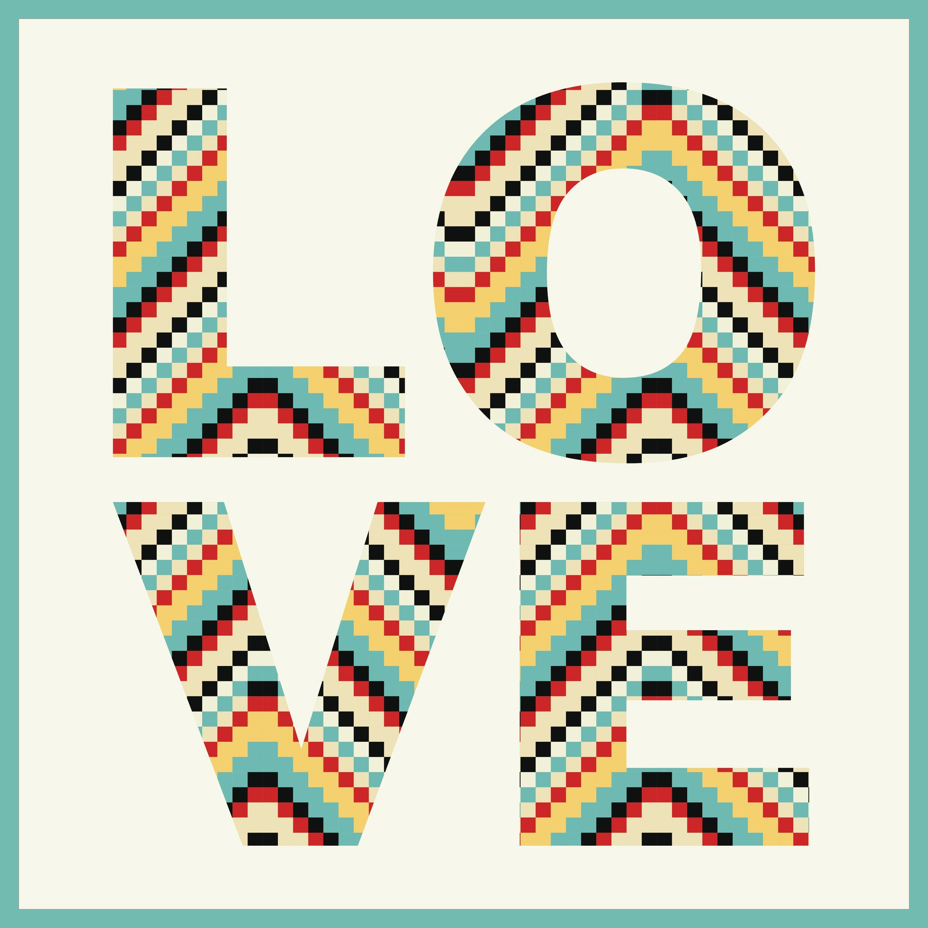 70s Pattern LOVE Icon Vinyl Decal Sticker