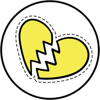90's Teen Girl Theme Cartoon Icon - Broken Heart Vinyl Decal Sticker