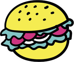 90's Teen Girl Theme Cartoon Icon - Burger Vinyl Decal Sticker