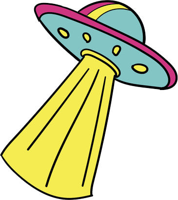 90's Teen Girl Theme Cartoon Icon - Flying Saucer Space Ship Vinyl Decal Sticker