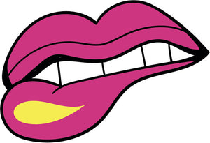 90's Teen Girl Theme Cartoon Icon - Lip Bite Vinyl Decal Sticker