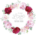 A True Love Story Never Ends Hipster Flower Wreath Border Vinyl Decal Sticker