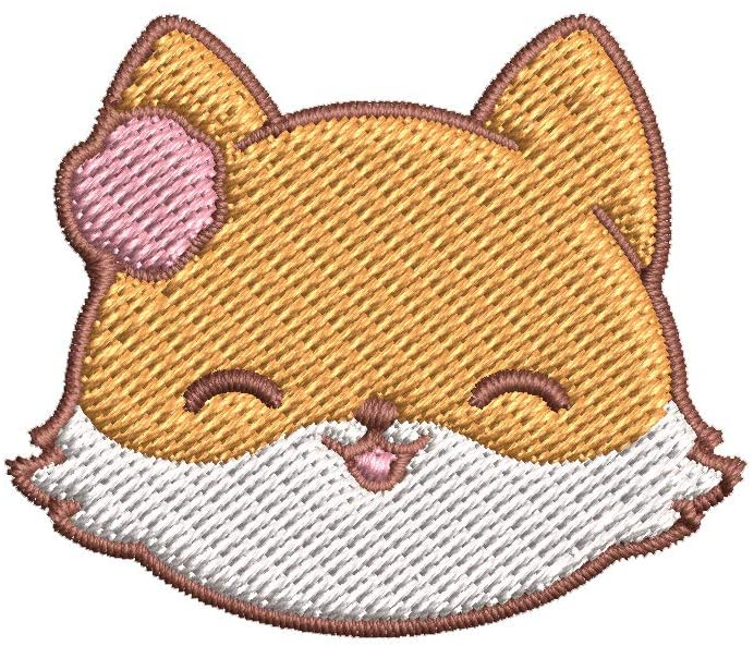 Iron on / Sew On Patch Applique Adorable Kawaii Fox Emoji Cartoon #1 - Girly Embroidered Design