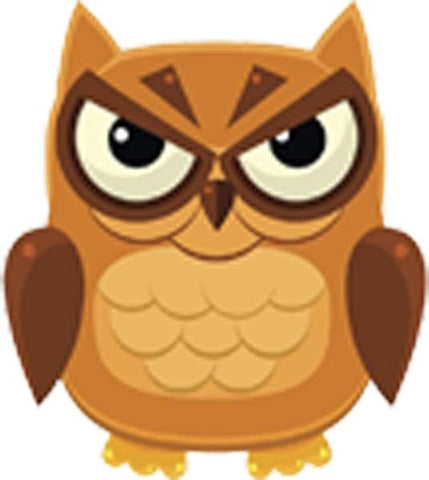 Adorable Nursery Owl Cartoon Emoji - Angry Vinyl Decal Sticker