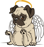 Adorable Angelic Pug Puppy Dog with Wings and Halo Vinyl Decal Sticker