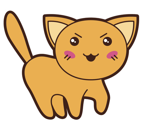 Adorable Asian Kitty Cat  (5) Vinyl Decal Sticker