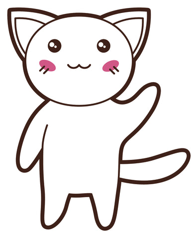 Adorable Asian Kitty Cat  (6) Vinyl Decal Sticker