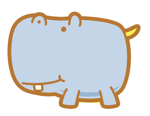 Adorable Baby Animal Cartoon - Hippo Vinyl Decal Sticker