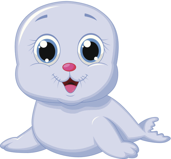 Adorable Baby Gray Seal Pup Cartoon Vinyl Decal Sticker