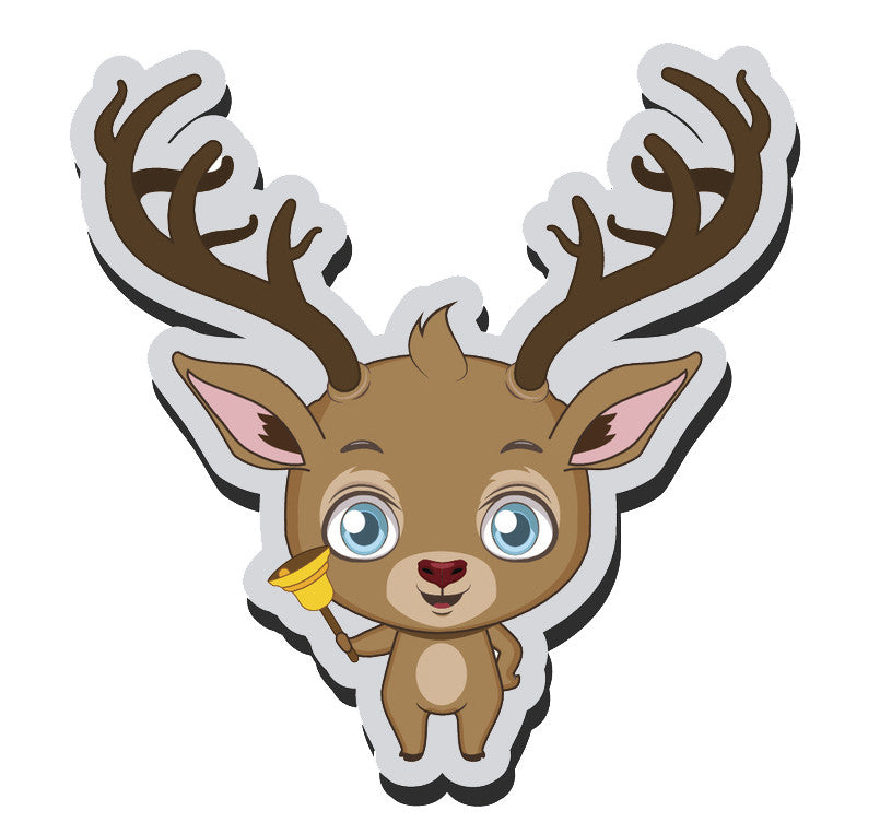 Adorable Baby Holiday Christmas Reindeer Cartoon Emoji  (1) Vinyl Decal Sticker