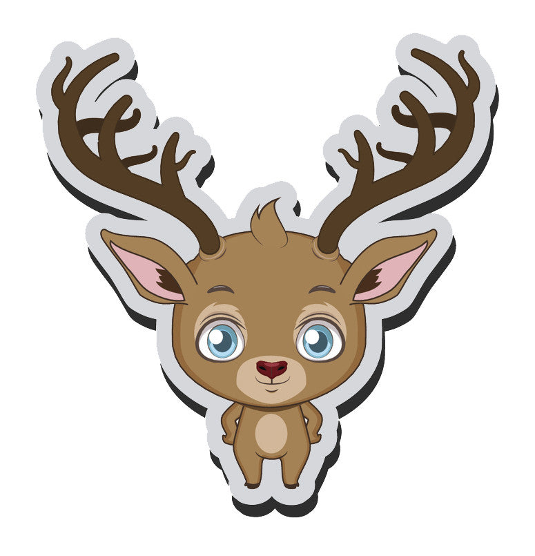 Adorable Baby Holiday Christmas Reindeer Cartoon Emoji  (5) Vinyl Decal Sticker