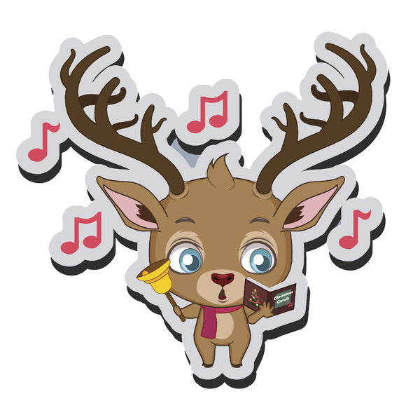 Adorable Baby Holiday Christmas Reindeer Cartoon Emoji  (7) Vinyl Decal Sticker