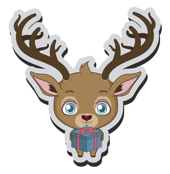 Adorable Baby Holiday Christmas Reindeer Cartoon Emoji  (8) Vinyl Decal Sticker
