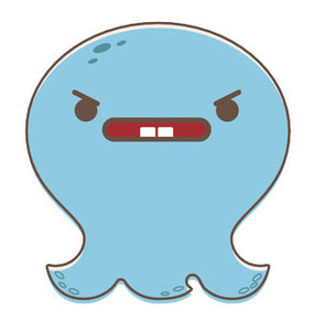 Adorable Baby Octopus Ghost Emoji - Angry Vinyl Decal Sticker