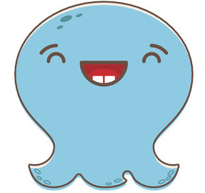 Adorable Baby Octopus Ghost Emoji - Laughing Vinyl Decal Sticker