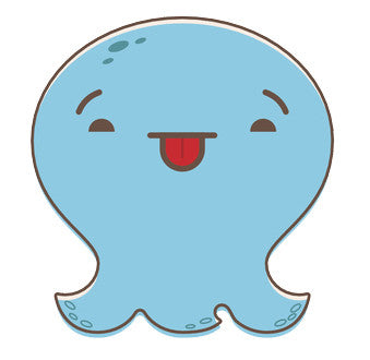 Adorable Baby Octopus Ghost Emoji - Silly Vinyl Decal Sticker