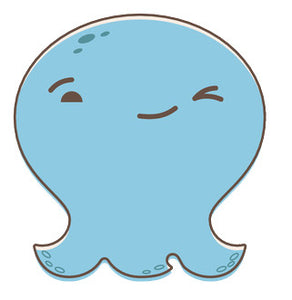 Adorable Baby Octopus Ghost Emoji - Winking Vinyl Decal Sticker