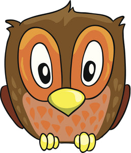 Adorable Baby Owl with Large Eyes Cartoon Vinyl Decal Sticker