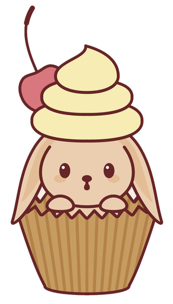 Adorable Baby Pet Animal - Puppy Dog Cupcake Vinyl Decal Sticker
