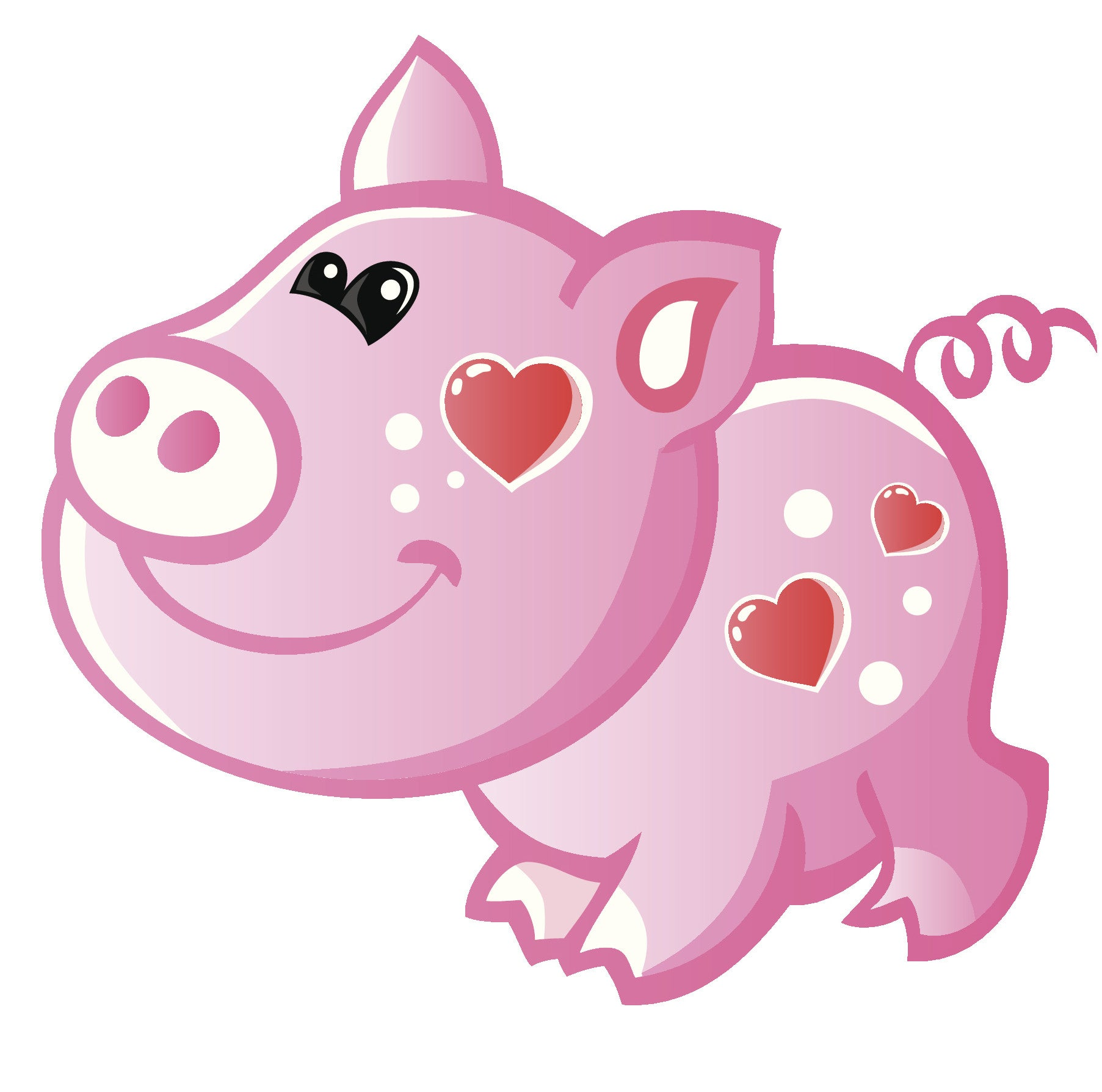 Adorable Baby Piglet Pig with Hearts Vinyl Decal Sticker
