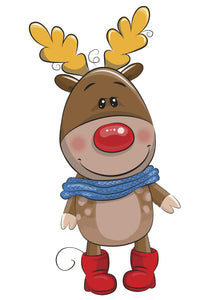Adorable Baby Rudolph Reindeer Cartoon Vinyl Decal Sticker
