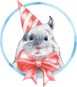 Adorable Birthday Hamster Pet Watercolor Art Vinyl Decal Sticker