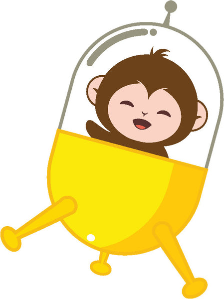 Adorable Cute Baby Space Monkey Cartoon #3 Vinyl Decal Sticker