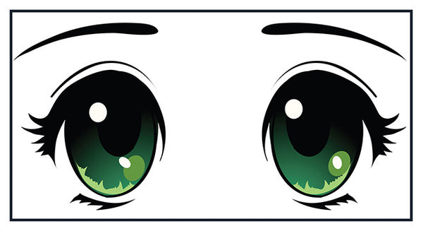 Adorable Cute Big Beautiful Anime Eyes Cartoon - Green Vinyl Decal Sticker