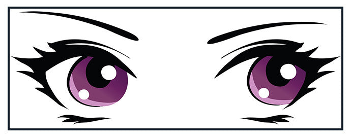 Adorable Cute Big Beautiful Anime Eyes Cartoon - Purple Vinyl Decal Sticker