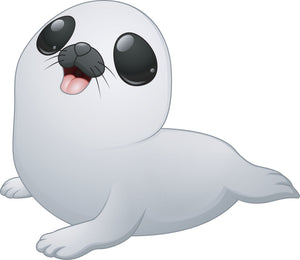 Adorable Cute Big  Eyed White Baby Seal Vinyl Decal Sticker