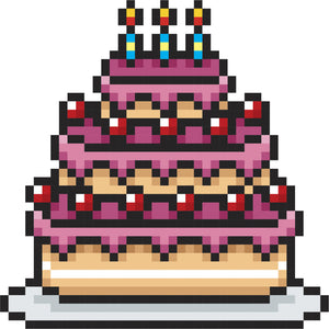 Adorable Cute Digital Game Birthday Cake Cartoon Vinyl Decal Sticker