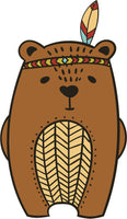 Adorable Cute Forest Totem Animal Brown Cartoon - Bear Vinyl Decal Sticker