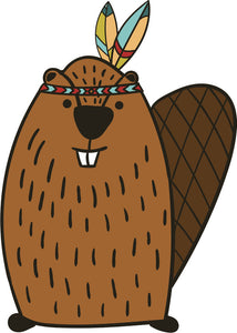 Adorable Cute Forest Totem Animal Brown Cartoon - Beaver Vinyl Decal Sticker