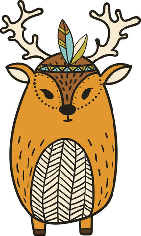 Adorable Cute Forest Totem Animal Brown Cartoon - Deer Vinyl Decal Sticker