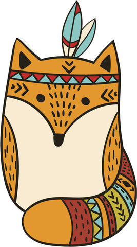 Adorable Cute Forest Totem Animal Golden Cartoon - Fox Vinyl Decal Sticker