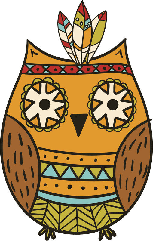 Adorable Cute Forest Totem Animal Golden Cartoon - Owl Vinyl Decal Sticker