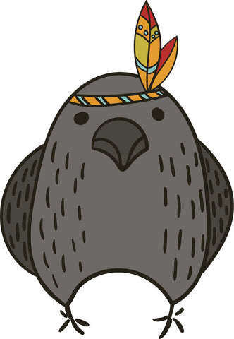 Adorable Cute Forest Totem Animal Gray Cartoon - Bird Pigeon Vinyl Decal Sticker