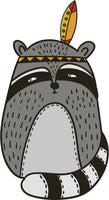 Adorable Cute Forest Totem Animal Gray Cartoon - Raccoon Vinyl Decal Sticker
