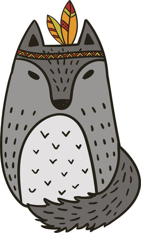 Adorable Cute Forest Totem Animal Gray Cartoon - Wolf Vinyl Decal Sticker