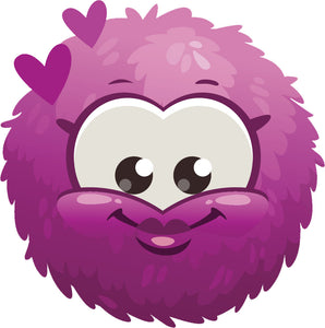 Adorable Cute Furry Fuzzy Ball Monster Cartoon Emoji - Pink Vinyl Decal Sticker