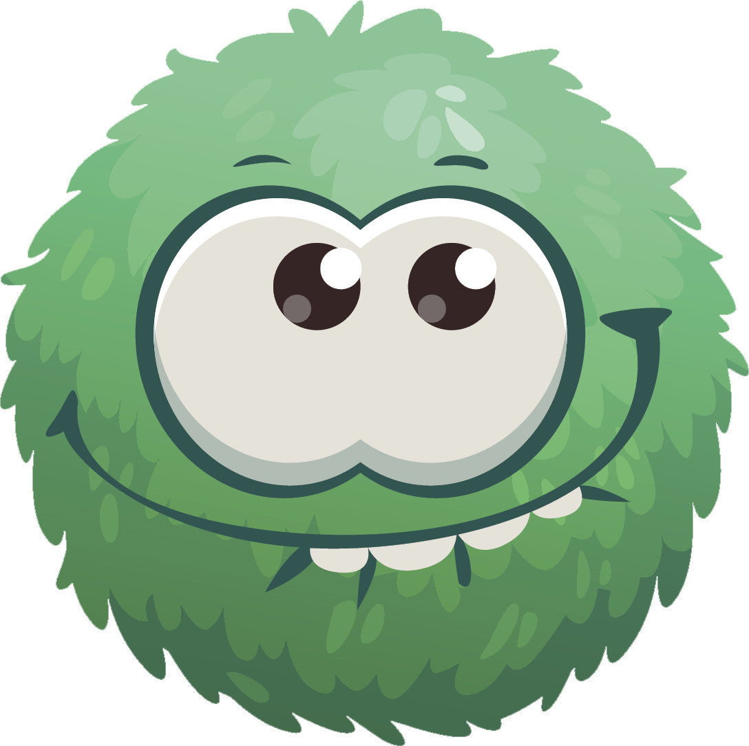 Adorable Cute Furry Fuzzy Ball Monster Cartoon Emoji - Teal Vinyl Decal Sticker