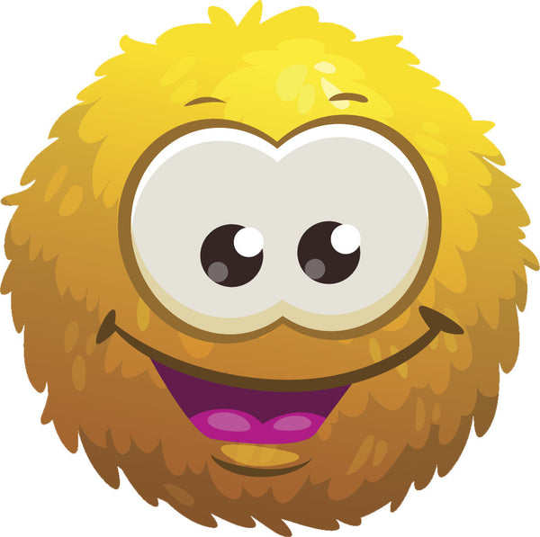 Adorable Cute Furry Fuzzy Ball Monster Cartoon Emoji - Yellow Vinyl Decal Sticker