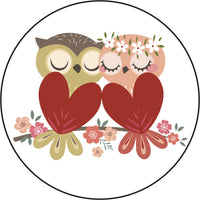 Adorable Cute Hipster Floral Heart Owl Cartoon Icon Vinyl Decal Sticker