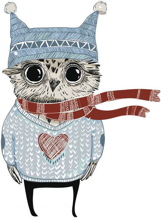 Adorable Cute Hipster Zoo Animal Cartoon - Owl Vinyl Decal Sticker
