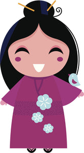 Adorable Cute Japanese Kawaii Girl in Kimono Cartoon #4 Vinyl Decal Sticker