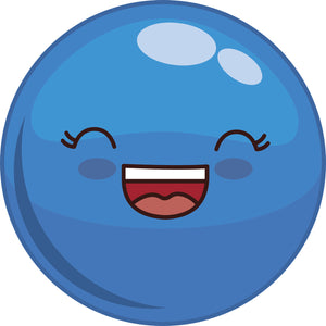 Adorable Cute Kawaii Shiny Ball Cartoon Emoji Icon - Blue Vinyl Decal Sticker