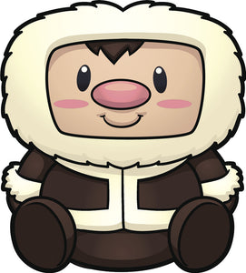 Adorable Cute Nursery Kindergarten Cartoon Emoji - Eskimo Vinyl Decal Sticker