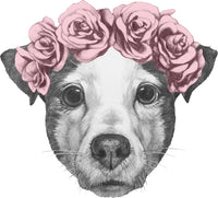 Adorable  Cute Pitbull Puppy Dog with Floral Rose Crown Vinyl Decal Sticker