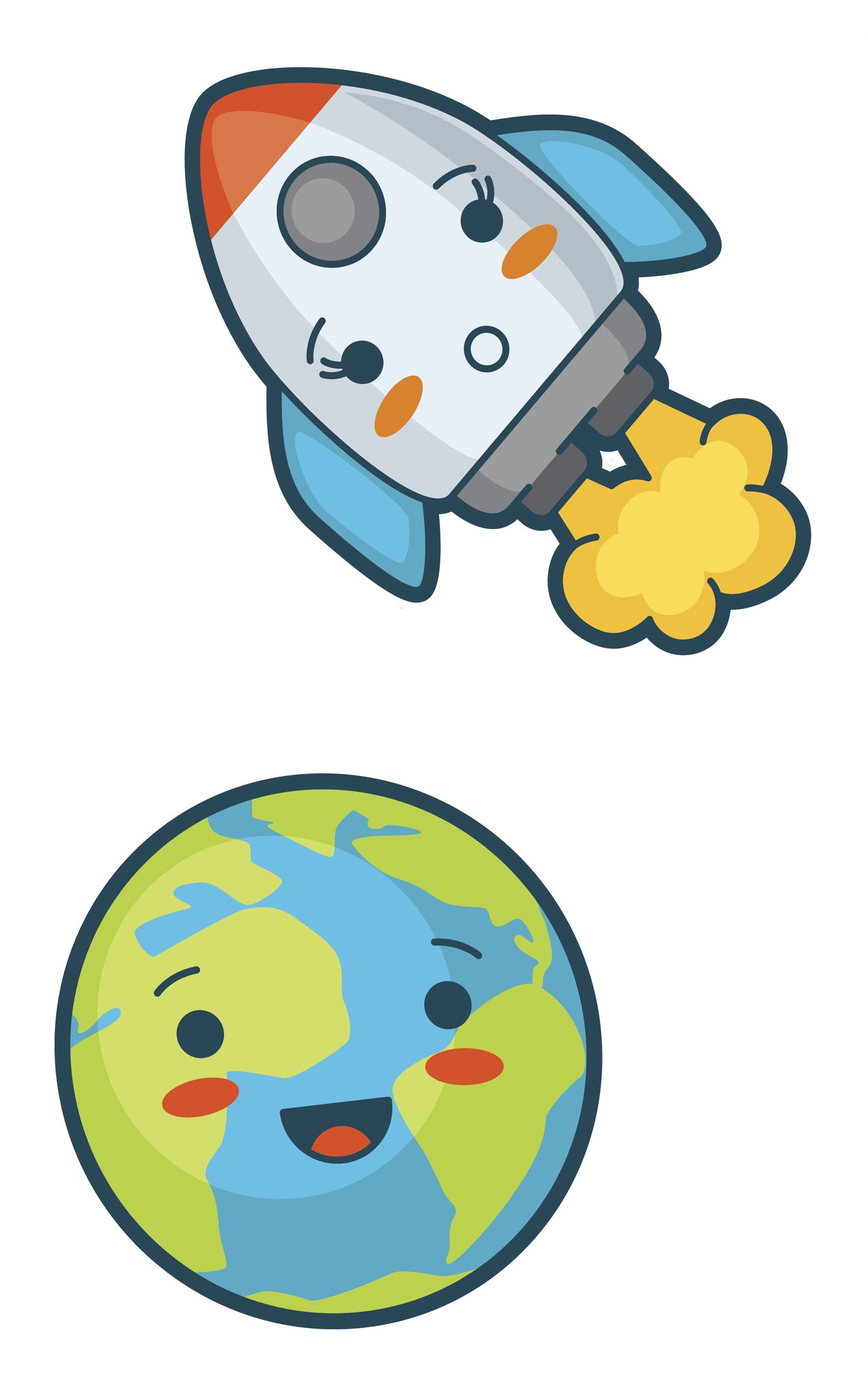 Adorable Earth and Rocket Vinyl Decal Sticker